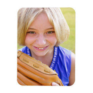 High angle portrait of a softball player smiling rectangular magnet
