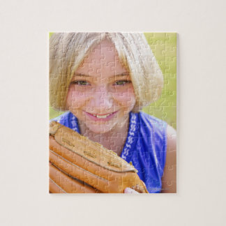 High angle portrait of a softball player smiling puzzle