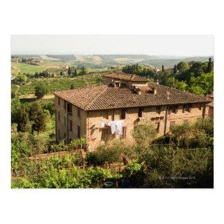 High angle view of a building, San Gimignano, Postcard