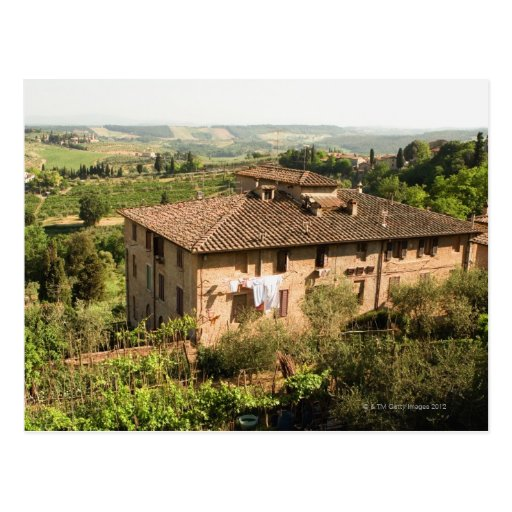 High angle view of a building, San Gimignano, Post Cards