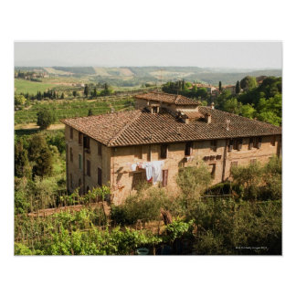 High angle view of a building, San Gimignano, Poster