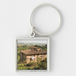 High angle view of a building, San Gimignano, Silver-Colored Square Keychain