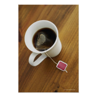 High angle view of a cup of tea posters