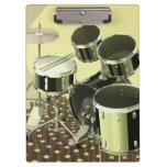 High angle view of a drum kit clipboard