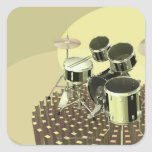 High angle view of a drum kit square sticker