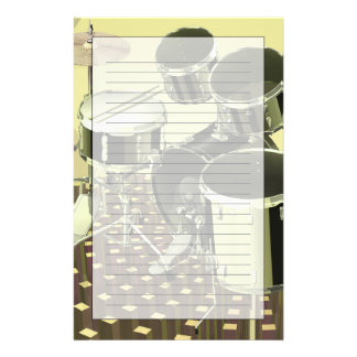 High angle view of a drum kit stationery