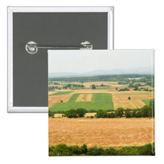 High angle view of a field, Siena Province, Pinback Button