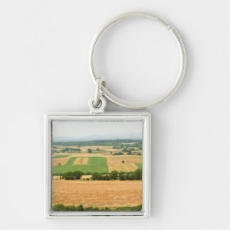 High angle view of a field, Siena Province, Silver-Colored Square Keychain