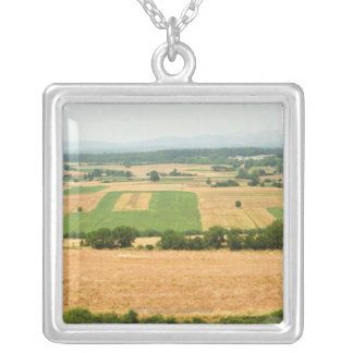 High angle view of a field, Siena Province, Square Pendant Necklace