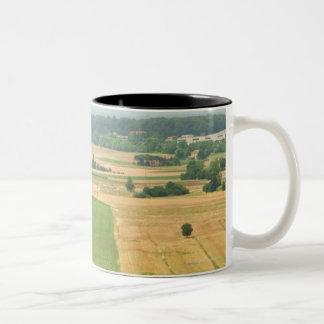 High angle view of a field, Siena Province, Two-Tone Coffee Mug