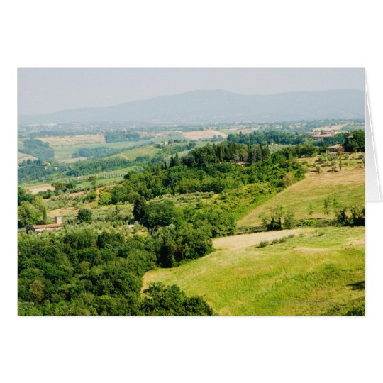 High angle view of a landscape, Siena Province, Card