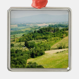 High angle view of a landscape, Siena Province, Metal Ornament