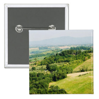 High angle view of a landscape, Siena Province, Pinback Button