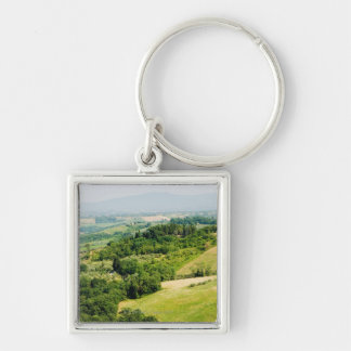 High angle view of a landscape, Siena Province, Silver-Colored Square Keychain