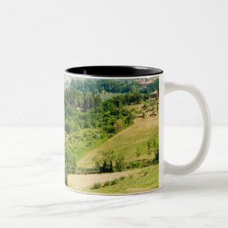 High angle view of a landscape, Siena Province, Two-Tone Coffee Mug