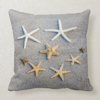 High angle view of a starfish on the beach throw pillows