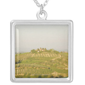 High angle view of a vineyard, Siena Province, Square Pendant Necklace