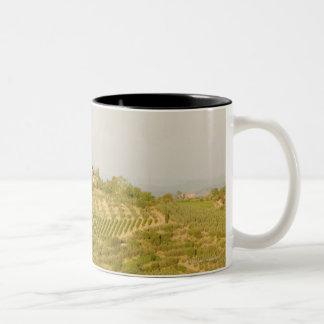 High angle view of a vineyard, Siena Province, Two-Tone Coffee Mug