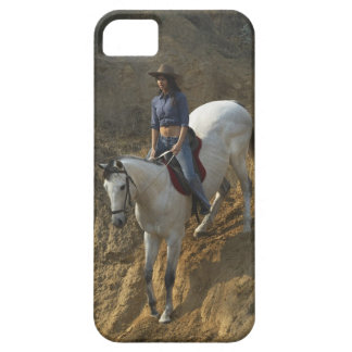High angle view of a young woman riding a horse iPhone SE/5/5s case