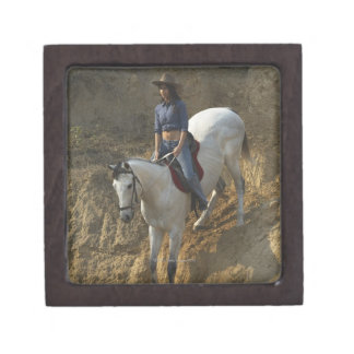 High angle view of a young woman riding a horse jewelry box