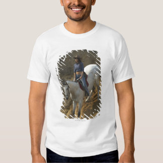 High angle view of a young woman riding a horse T-Shirt