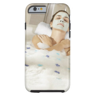 High angle view of a young woman wearing a tough iPhone 6 case