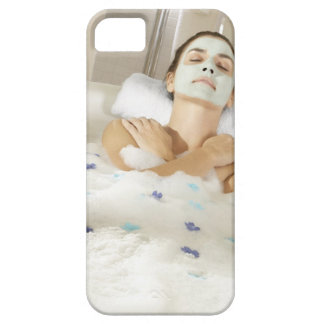 High angle view of a young woman wearing a iPhone 5 case