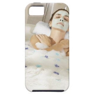 High angle view of a young woman wearing a iPhone SE/5/5s case