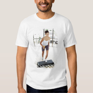 High angle view of a young woman working out on t shirt
