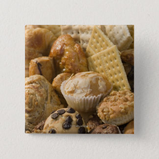 High angle view of muffins and crackers in a button