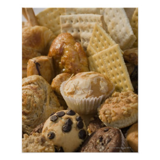 High angle view of muffins and crackers in a poster