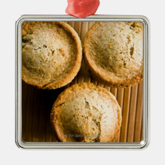 High angle view of muffins christmas tree ornaments