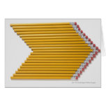 High angle view of pencils in a row card