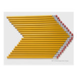 High angle view of pencils in a row postcard