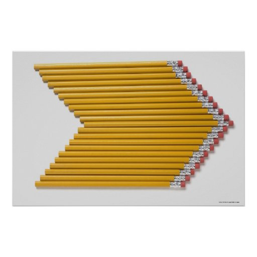 High angle view of pencils in a row poster