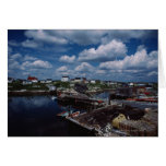 High angle view of provincial seaside town, greeting cards