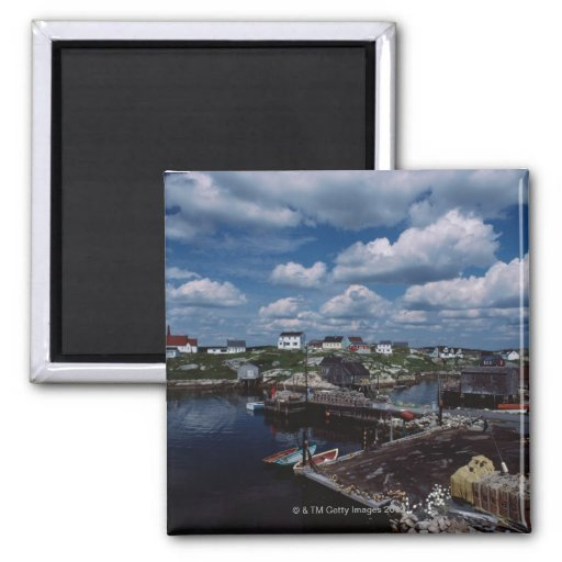 High angle view of provincial seaside town, refrigerator magnet