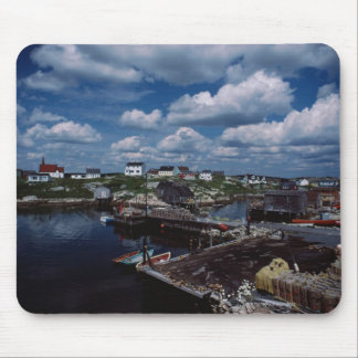 High angle view of provincial seaside town, mouse pad