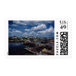 High angle view of provincial seaside town, stamp