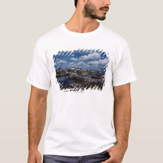 High angle view of provincial seaside town, T-Shirt