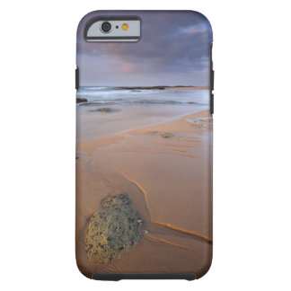 High angle view of shoreline rocks at dawn and tough iPhone 6 case