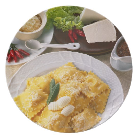 high angle view of stuffed ravioli served with dinner plate