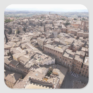 High Angle View of Townscape, Siena, Italy 2 Square Sticker