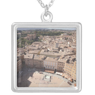 High Angle View of Townscape, Siena, Italy Silver Plated Necklace
