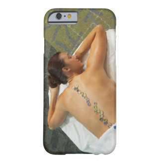 High angle view of woman receiving hot stone barely there iPhone 6 case