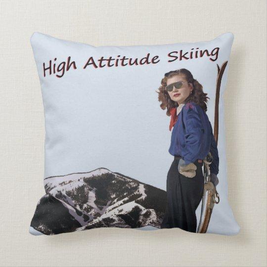 High Attitude Skiing Throw Pillow