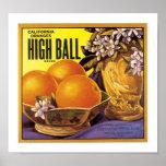 High Ball California Oranges Poster