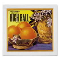 High Ball California Oranges Poster