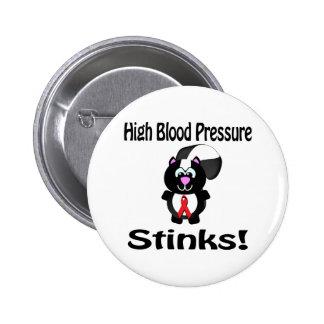 High Blood Pressure Stinks Skunk Awareness Design Pinback Buttons