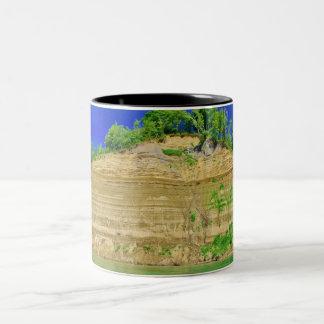 High Cliffs by the Lake Two-Tone Coffee Mug